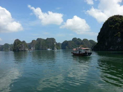 Take a boat around Halong Bay
