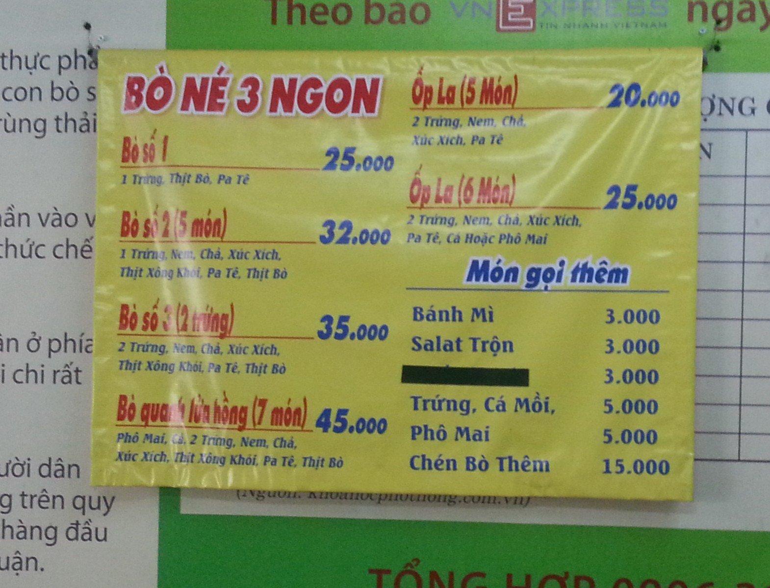 Bo ne 3 ngon is cheap in Vietnam
