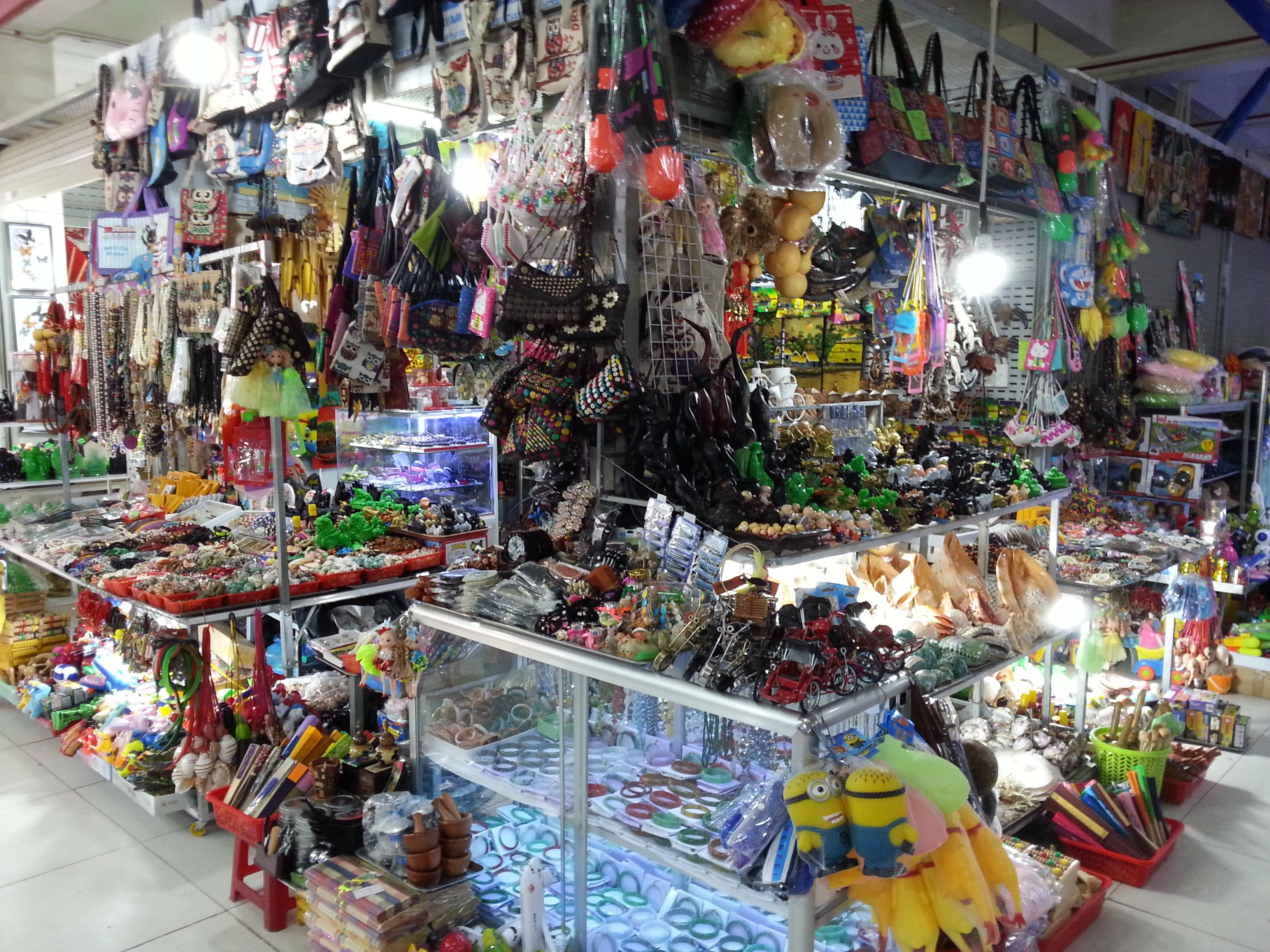 Toys and souvenirs at the food market in Nha Trang
