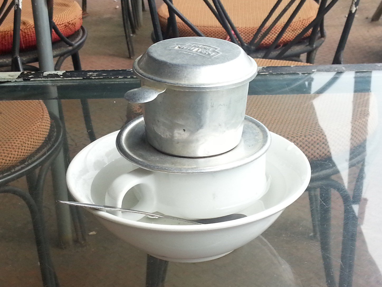 Vietnamese Coffee brewed in a phin