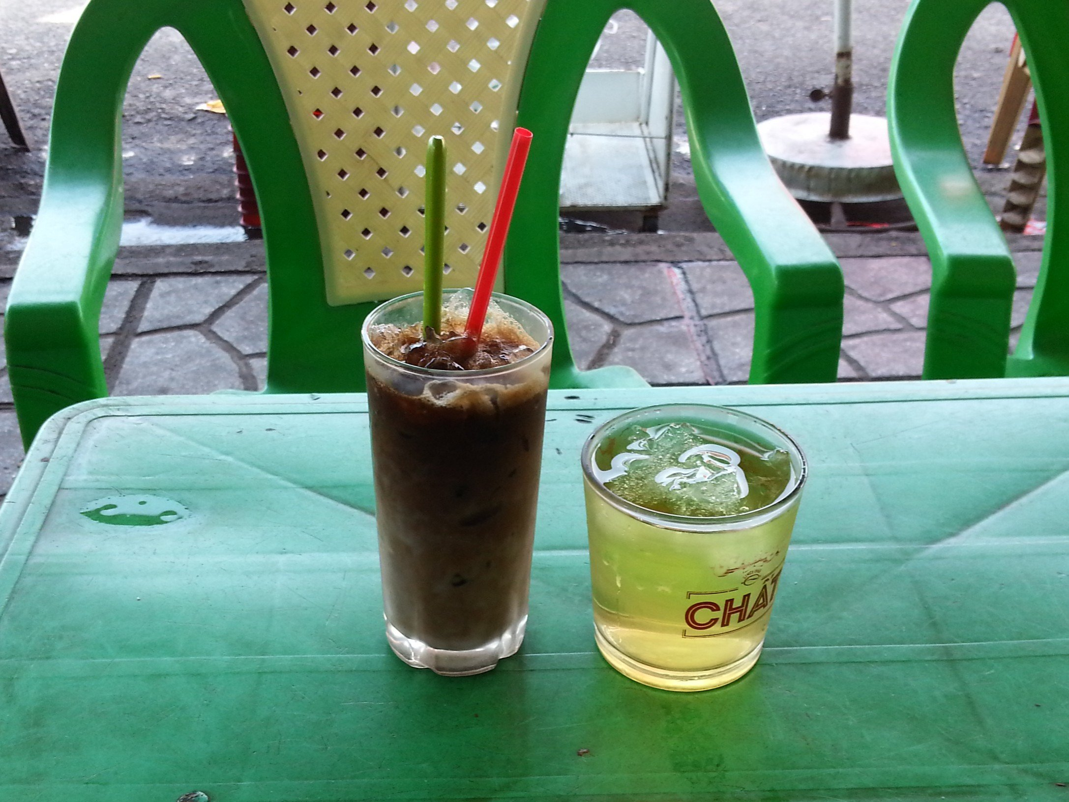 Vietnamese iced coffee served with cold tea