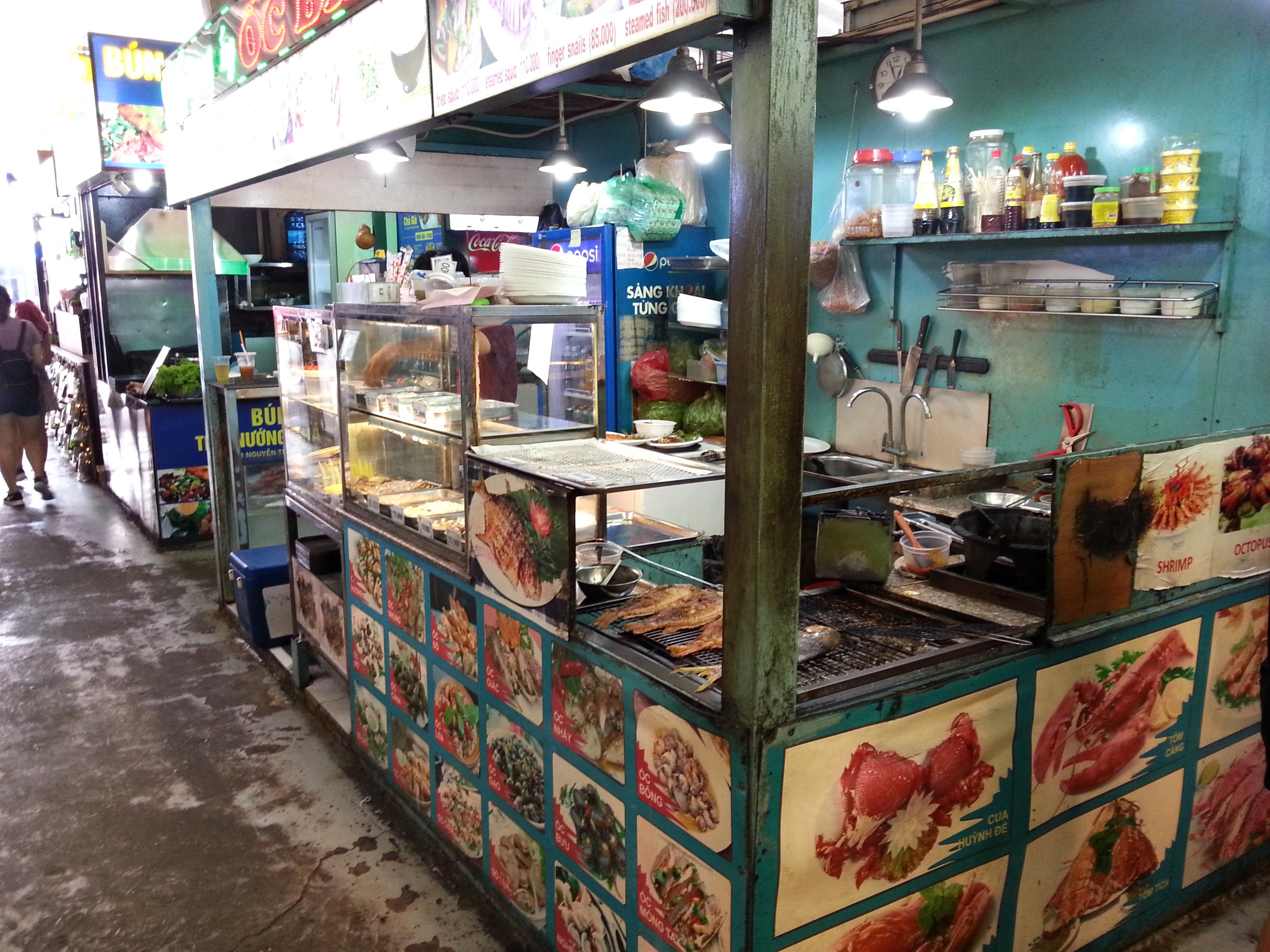 Seafood stall at Ben Thanh Street Food Market