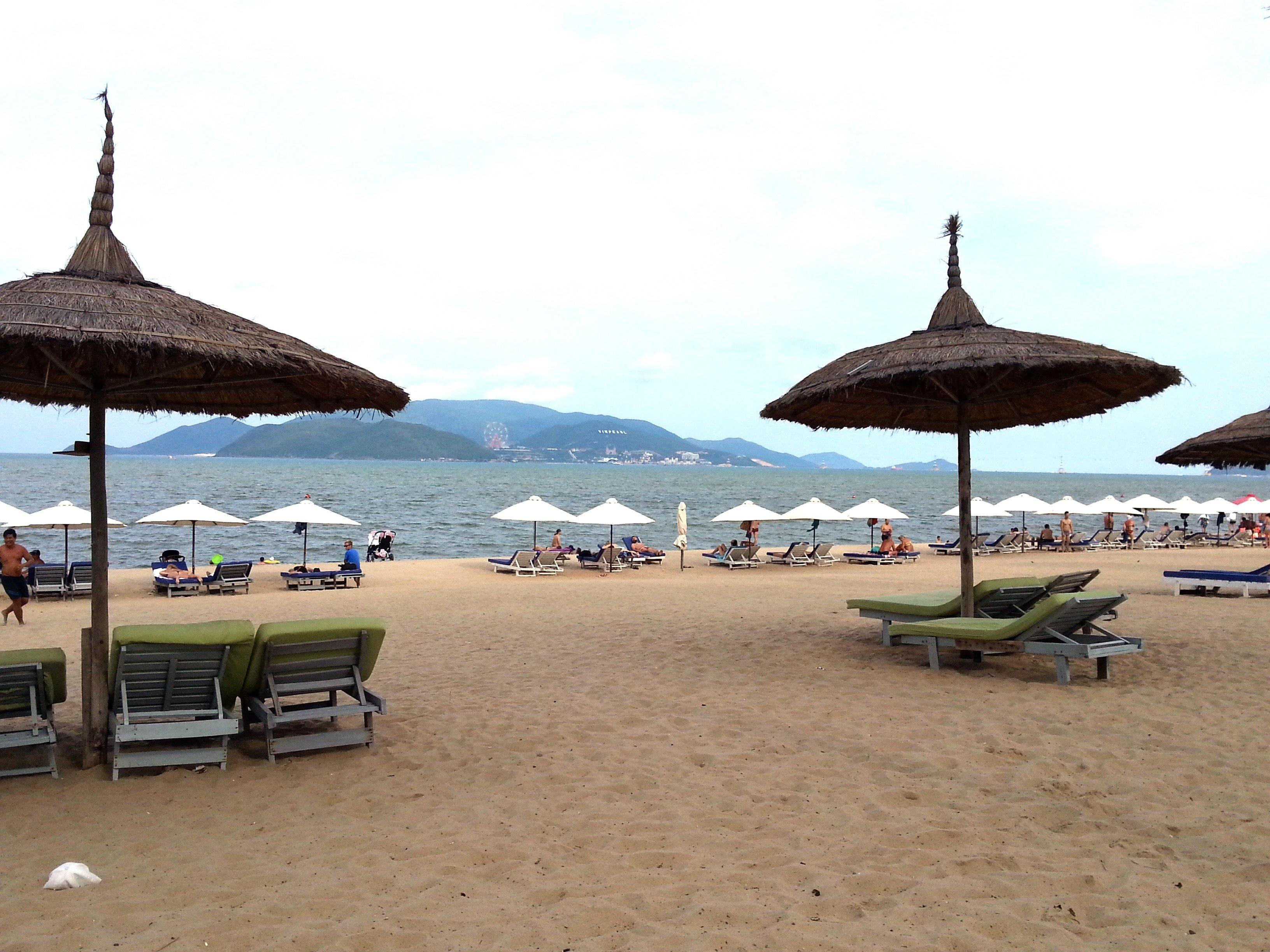 Sunbeds for rent on Nha Trang Beach
