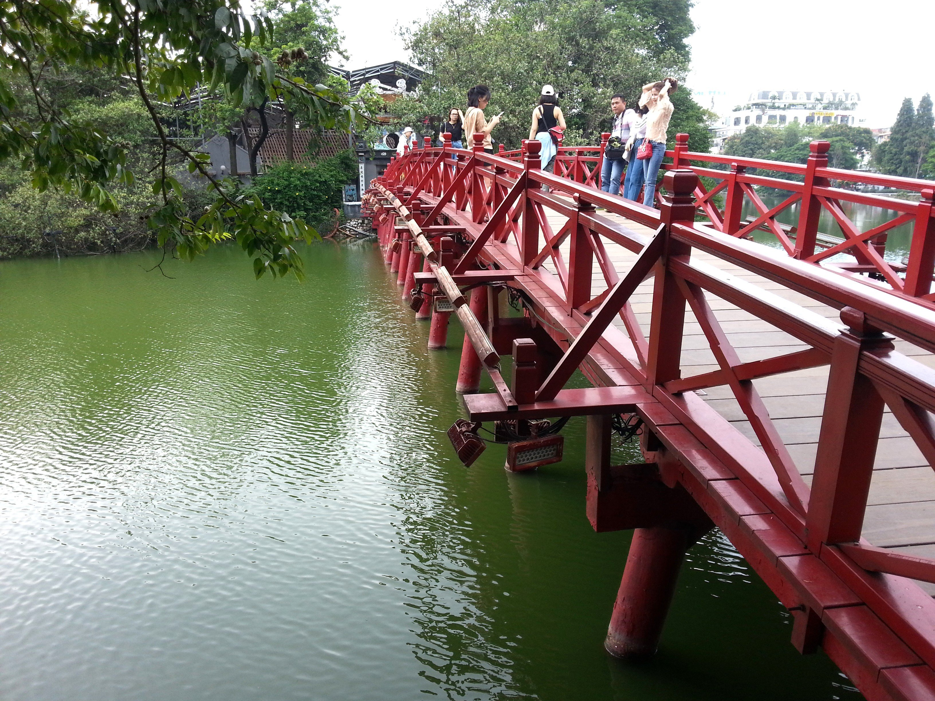 The Huc Bridge across Hoan Kiem Lake