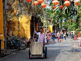 Street in the historic old town district of Hoi An