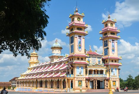 Front of the Cao Dai Temple in Tay Ninh